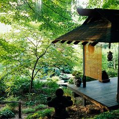 Make a Private Pavilion-japanese gardens.  Create an intimate space in your Japanese garden with a teahouse or pavilion made of bamboo or wood. Use such a structure for entertaining or for viewing the serene landscape