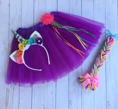 Purple unicorn costume - Halloween costume - bright unicorn tutu - tutu costume -  rainbow uicorn headband - unicorn costume -bright rainbow by DivazByDesign on Etsy https://www.etsy.com/listing/561163219/purple-unicorn-costume-halloween-costume