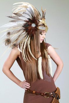 Man's Custom Feather Headdress with Antlers and Feather Train for Jonathan Chale