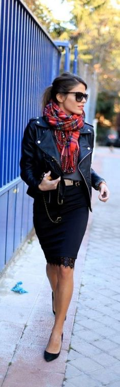 Casual Chic / Black leather moto jacket with red tartan scarf and cute lace hemmed black pencil skirt.