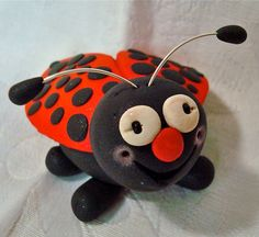 LIZZIE the LADYBUG Polymer Clay Character Figurine by KatersAcres, $17.50