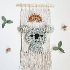 Baby nursery woodland woods 33 ideas for 2019 Weaving Textiles, Tapestry Weaving, Loom Weaving, Hand Weaving, Weaving Wall Hanging, Tapestry Wall Hanging, Woven Image, Motifs Animal, Koala Nursery