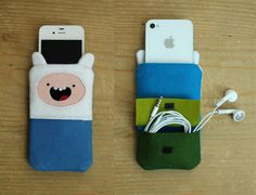 Adventure Time Finn iPhone sleeve.  Gonna make one out of felt.