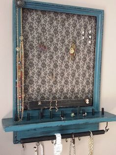 Hanging Jewelry Box blue and black Jewelry Holder Wall, Jewelry Boxes For Sale, Wall Mount Jewelry Organizer, Jewelry Wall, Hanging Jewelry Organizer, Wall Organization, Jewelry Organization, Bridal Shower Gifts, Bridal Gifts