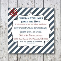 NAVY going away invitation by SimpleDevineDesign on Etsy, $15.00