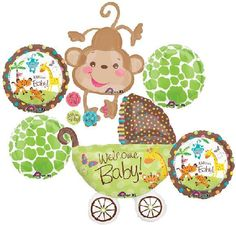 FISHER PRICE SAFARI ANIMAL MONKEY BOY BABY SHOWER BALLOONS BOUQUET SUPPLIES LIME | eBay