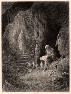 """Gustave Doré (1832-1883)  Merlin, reclus au cœur de la forêt, est visité par le roi Arthur  Dans : Alfred Tennyson (1809-1892), Les idylles du roi  Vol. 2, Viviane, avec neuf planches gravées d'après Gustave Doré  Imprimé. Paris, Hachette, 1868. Pl. VIII  BnF, Réserve des Livres rares, YK-78  """"À la fin, les officiers du roi trouvèrent un petit homme chauve à la tête luisante."""""""