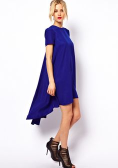 Blue Plain Swallowtail Short Sleeve Loose Polyester Dress