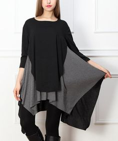 Look what I found on #zulily! Black & Charcoal Layered Sidetail Tunic #zulilyfinds