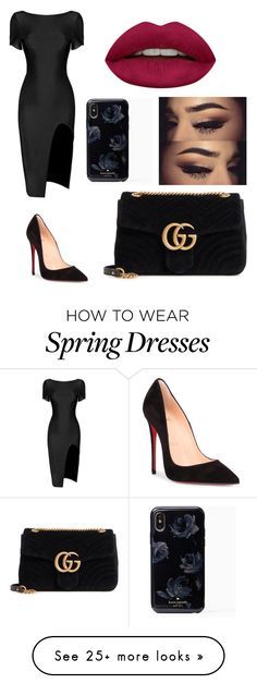 """Untitled #1124"" by katia017 on Polyvore featuring Christian Louboutin, Gucci and Huda Beauty"