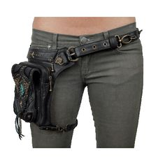 Five and Diamond Jungle Tribe Vintage Vibes Holster Bag & Utility Belt Thigh Bag, Look Festival, Leather Holster, Leather Bags, Vintage Vibes, Purses And Bags, Black Leather, Cosplay, My Style