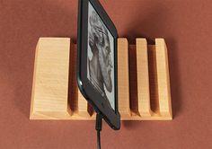 5 Slots Organizer Wood Multidock Charging Station Smartphone Tablet Kindle Stand