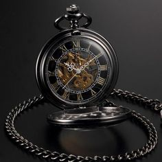 Only a few more left in stock! Men Women Steampunk Skeleton Mechanical Black Gold Retro Pocket Watch Shop now:  http://emily-brooks-jewelry.myshopify.com/products/men-women-steampunk-skeleton-mechanical-black-gold-open-face-retro-pendant-pocket-watch?utm_campaign=crowdfire&utm_content=crowdfire&utm_medium=social&utm_source=pinterest