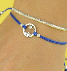 Star and Moon charm bracelet-Sterling silver by Zzaval on Etsy