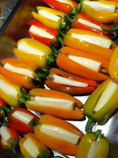 slice the pepper and slip in a hunk of string cheese. Place on a cookie sheet and broil for about ten minutes.