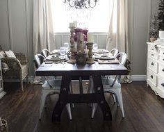 Rustic, Industrial Christmas Dining Room - Hello Yellow Blog #LeonsHelloHoliday