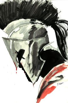 King Leonidas practice sketch Ink + watercolour