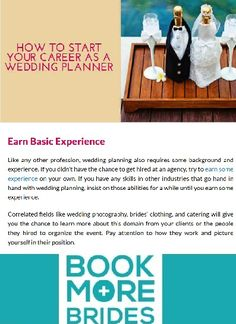 How to Start Your Career As a Wedding Planner. Click to read the full article on http://www.BookMoreBrides.com