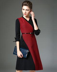 #AdoreWe QILI Red V-neck 3/4 Sleeve Contrast Color Belted A-line Dress - AdoreWe.com