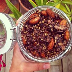 Buckwheat granola with chocolate, almonds, oats all toasted coated in coconut oil.