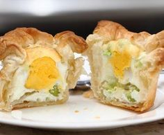 Elaine's Eggs in a Basket via Two Llamas and a Whole Lotta Drama  Ingredients  1 Box of Puff Pastry Sheets (each square should big enough to fill the cavity of a muffin tin and have the corners stick out)  6 Eggs  3 Scallions  1 Cup of grated cheese  Sea Salt  Pepper  Muffin tin  Butter or Pam to grease the muffin tin  #breakfast #eggs #oven