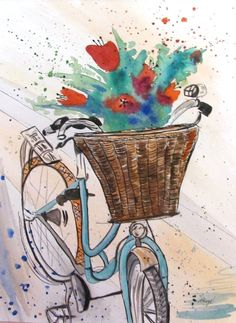 Flowers and Bicycle vintage ORIGINAL by AnnaToozeFineArt on Etsy, $30.00