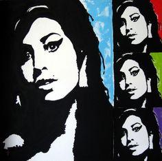 """Amy Winehouse"" Pop Art Painting by Venus. 48 x 48 Acrylic on Canvas. https://www.etsy.com/shop/PaintingsbyVenus?ref=l2-shopheader-name #art"