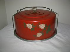 Vintage Round Red Metal Cake Carrier Taker With by vintagedoodads