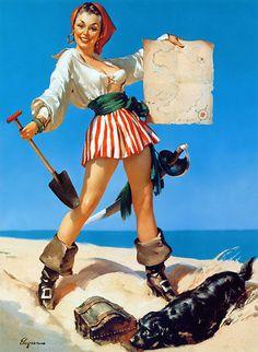 "Wall Art Print-PINUP art-Erotic-Sexy-Art Reproduction Vintage Sexy Pin-up Girl Gil Elvgren ""Hidden Treasure"" 1954 Print Pin Up Vintage, Photo Vintage, Vintage Art, Retro Art, Pinup Art, Gil Elvgren, Rolf Armstrong, Estilo Pin Up, Pin Up Illustration"