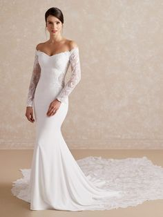 Sleek Wedding Dress, Fitted Wedding Gown, Mermaid Wedding Dress With Sleeves, Plain Wedding Dress, Crepe Wedding Dress, Off Shoulder Wedding Dress, Long Wedding Dresses, Long Sleeve Wedding, Wedding Attire