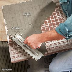 Back-Butter Large Tile - 17 Modern Tile Installation Tips… How To Lay Tile, Home Fix, Tile Installation, Home Repairs, Diy Cabinets, Reno, Diy Home Improvement, Home Projects, Home Remodeling