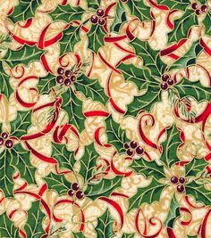 Maker's Holiday Cotton Fabric - Holly and Ribbon - Fabric - Holiday Fabric - Christmas at JOANN Christmas Fabric, Green Christmas, Christmas Holidays, Christmas Patterns, Christmas Colors, Textiles, Online Craft Store, Quilt Kits, Joanns Fabric And Crafts