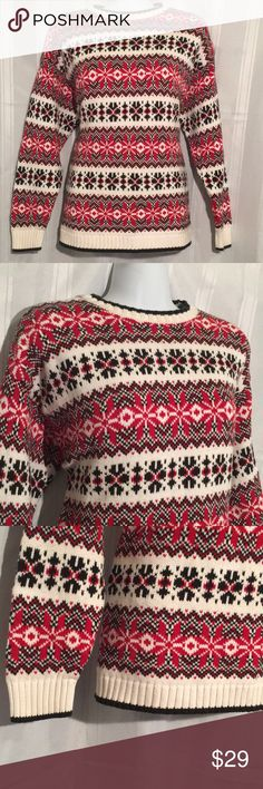 """*WARM*WINTER* HEAVY KNIT SWEATER *WARM*WINTER* HEAVY KNIT SWEATER - red black & cream - beautifully made - great condition - no tags, approx size L (Measures: 15"""" shoulder to shoulder and about 18"""" pit to pit) Sweaters Crew & Scoop Necks"""