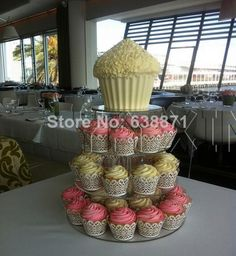 585b6e7b4a9 Wholesale-free Shipping Promotional 4 Tier Round Acrylic Cupcake Stand 4  Tier Wedding Party Shower