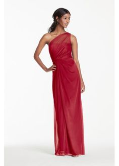 Long Mesh Dress with One Shoulder Neckline F15928.  Begonia, raspberry, cherry or tangerine.  $159