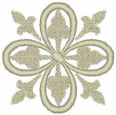 Double Fleur de lis Cross Embroidery Design
