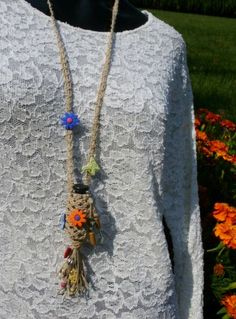 Bottle necklace, Macrame BoHo Hippie necklace, Aromatherapy | Panacea - Jewelry on ArtFire