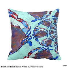Blue Crab Swirl Throw Pillow