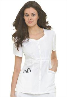 White Scrub Top For gentlewoman White Scrub Tops, White Scrubs, Scrubs Outfit, Scrubs Uniform, Landau Scrubs, Medical Uniforms, Medical Scrubs, Blouse, How To Wear