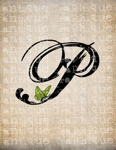 Antique Letter P Script Monogram with Butterfly Digital Download for Dictionary Pages, Papercrafts, Transfer, Pillows, etc.Burlap No 7467