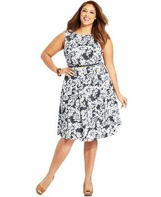 Charter Club Plus Size Dress Sleeveless Embroidered A Line Plus