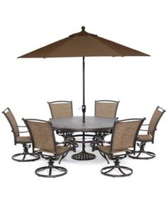 """Cambrian Outdoor Cast and Aluminum 7-Pc. Dining Set (60"""" Round Dining Table and…"""
