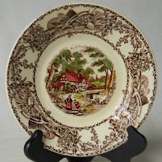 Rural Scenes Poly Brown Transferware Plate by
