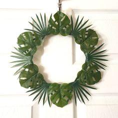 Modern Wreath/13 inch/Tropical Wreath/Leaf Wreath/Boho Wreath/Door Wreath/Boho Chic Wreath/Hawaiian Wreath/Chic/Modern Decor/Rustic/Leaf by SunshineSkyStudio on Etsy
