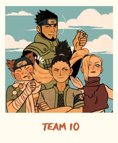 Time 10! Ino tem que ser a diva né minha gente! Asuma e o sensei! Shikamaru o inteligente gato e chouji o gordinho kkkkk