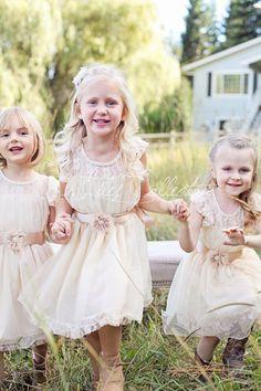 Charlotte flower girl dress ivory flower girl by DLilesCollection