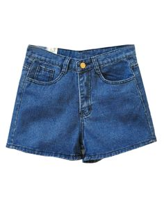 Retro High Waist Washed Denim Shorts