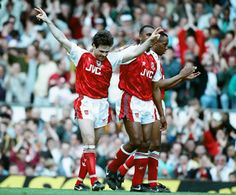Arsenal 4 v. Liverpool 0. Anders Limpar scores and celebrates in 1992 with David Rocastle and Ian Wright.