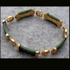 Jade gold link bracelet