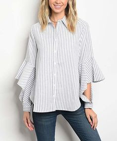Forever Lily White & Charcoal Stripe Ruffle-Sleeve Top | zulily